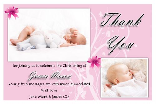 10 Personalised Christening / Baptism Thankyou PHOTO Cards N175